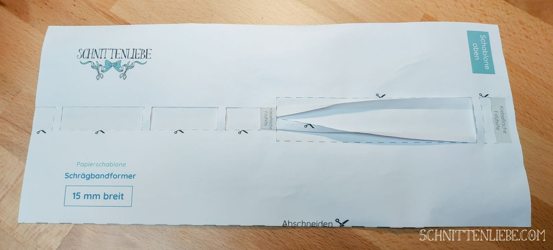 Schrägband selbst erstellen Schrägbandformer Papier Schablone