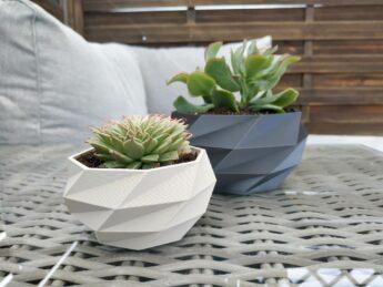 Schnittenliebe 3D print succulent pots cement grey metallic