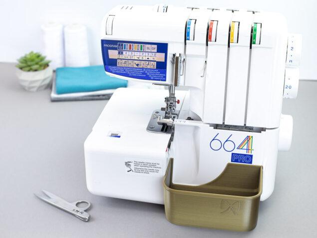 schnittenliebe stoffreste auffangen overlock elna 668 pro auffangbehälter altgold