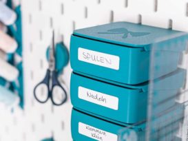 sew organiced box etiketten aufkleber petrol